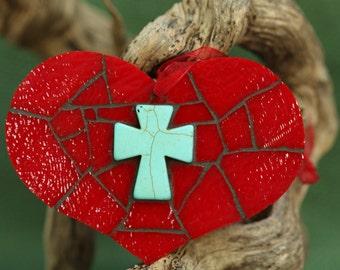 Mosaic Heart~Stained Glass Mosaic Heart~Stained Glass Heart~Red Heart~Turquoise Cross~Turquoise Heart~Baptism Gift~Godparent Gift~Hostess