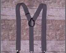 FALL SALE Boys Grey Suspenders, Toddler Suspenders, Baby Suspenders