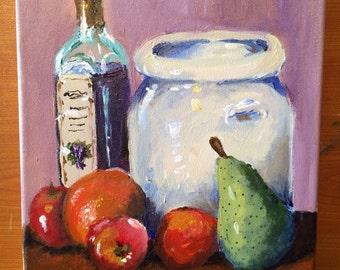"Still life by Emily. 9"" x 12"" acrylic on canvas"