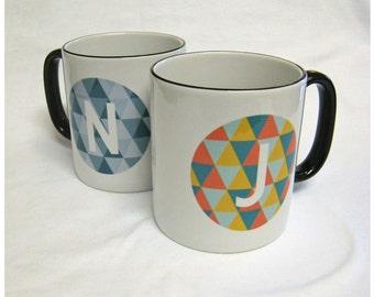 Personalised Retro Triangle Pattern Circle Initial Mug