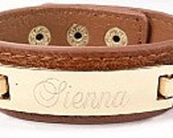 Leather Monogrammed Bracelet, Personalized
