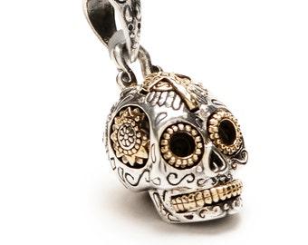 Mexican Sugar Skull Pendant in Sterling Silver (Small) -  Sugar skull necklace day of the dead Muertos tete de mort