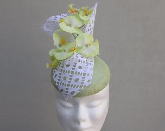 Pale Green Floral Fascinator Hat Races Weddings Special Events