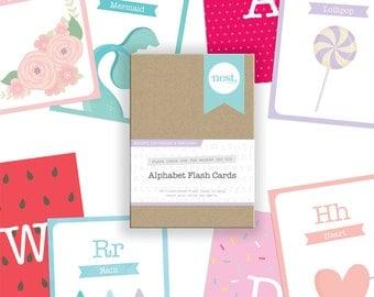 Alphabet Flash Cards - Hearts, Ice Creams & Unicorns