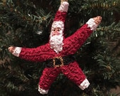 Adorable Large Starfish Santa Ornament