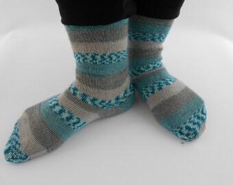 Hand knitted socks, size 35/36 (EURO), grey, turquoise, blue wool nylon