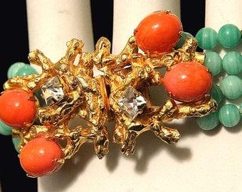 Vtg William de Lillo Bracelet Pale Green Glass Beads Coral Cabochons Elegant