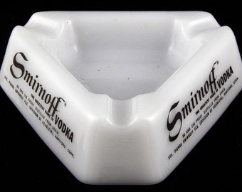 "Vintage Smirnoff Vodka Ashtray Milk Glass Triangular 5"" Each Side"