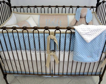 Boy's Baby Bedding , Baby Blue & Tan Crib Bedding : Holdt