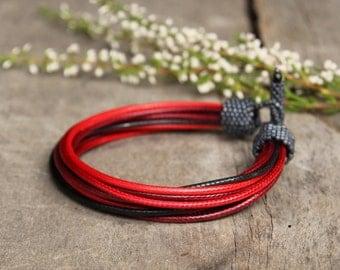 Cool bracelet for men, red mens bracelet, black mens bracelet, gray mens bracelet, gift for husband, bracelet for him, mens jewelry
