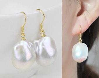 Large baroque pearl earrings,big jumbo flameball pearl earrings,sterling silver white pearl earrings,huge fireball pearl earings,mother gift