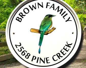 Blue Crowned Motmot Bird Address Plaque/Outdoor/House Number Plaque/Sign