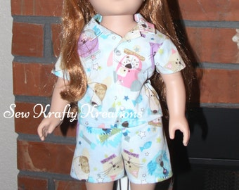 "Cat and Dog Doll Pajamas for 18"" doll like American Girl"