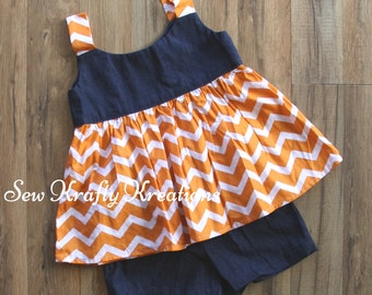Girl's 2 Piece Set - Denim and Orange Chevron with Cotton Denim Shorts