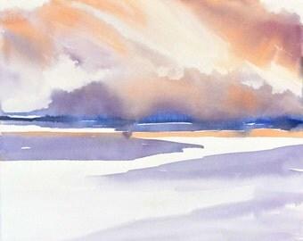 Sunset Art Landscape Print,Ocean Artwork Watercolor Painting,Sunset Print,Seascape Landscape,Dusk Seascape,Purple Wall Decor,Orange Pink,Zen