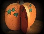 Dimensional Folk-Art Painted Wood Pumpkin