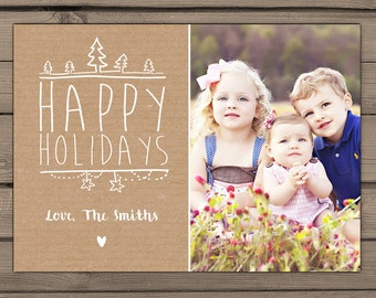 Happy holidays Photocard PRINTABLE Christmas card Holiday Greeting Card Merry Christmas Vintage Rustic christmas card Photo card Digital
