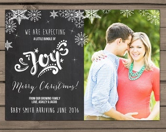 Holiday Pregnancy Announcement Card Maternity Photo Card