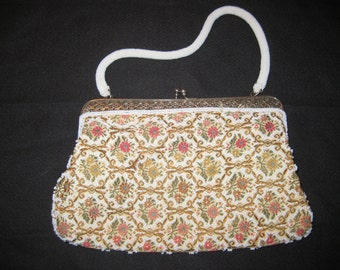Beautiful Mid-Century Brocade and Beaded Evening Purse with Beaded Handle