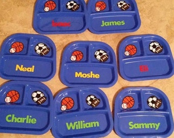 Sports Divider Plate Party Favors, Kid's Divided Plates Personalized Party Favors