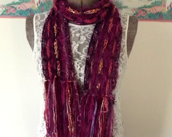 Crochet Art Scarf Fuschia Purple Pink Woven with Novelty Yarns Airy Unique