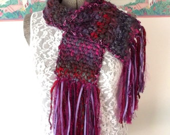 Crochet Scarf Petite, Purple, Red, Hot Pink, Wooly, Shorter Length, Handspun, Rich Colors, Boho Gypsy