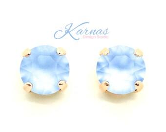 LIGHT SAPPHIRE MATTE 8mm Crystal Stud Earrings Made With Swarovski Crystal *Pick Your Finish *Karnas Design Studio *Free Shipping*