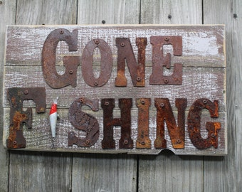Gone Fishing, FREE Shipping, Dad Gift,  Home Decor, fishing decor, rustic cabin decor