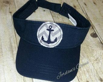 Anchor Nautical Chevron Raggy Patch Visor