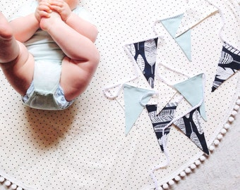 Nursery flag bunting in mint navy and white with feathers and spots