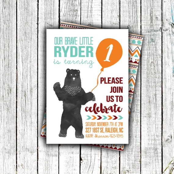 Birthday Party Invitation, Printable, Bear, Aztec, Brave, Fall, First Birthday, Second Birthday, Little Boy, #26