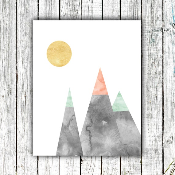 Nursery Art Printable Download, Modern Mountains and Sun, Grey, Mint, Coral, Gold, Outdoors #415