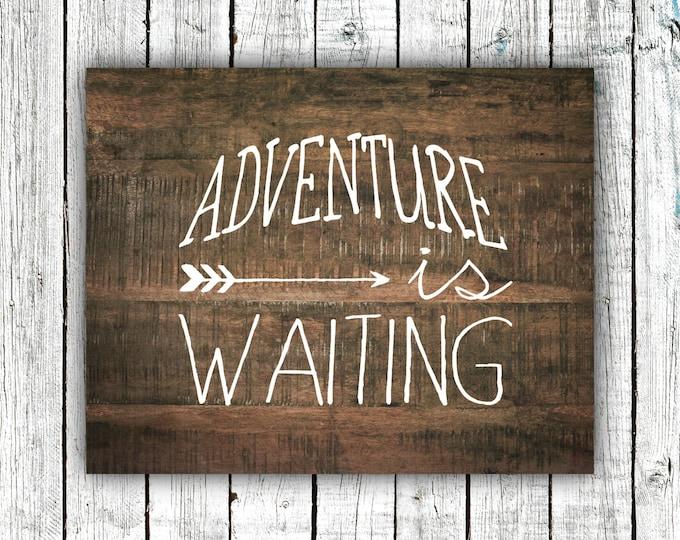 Printable Art, Nursery Print, Adventure is Waiting, Wood, Rustic, Arrow, Tribal, Digital, 8x10 #394