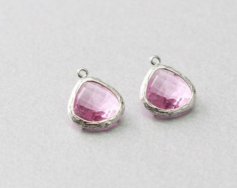Pink Teardrop Glass Pendant . Polished Original Rhodium Plated . Brass Framed . 10 Pieces / G1004S-PK010