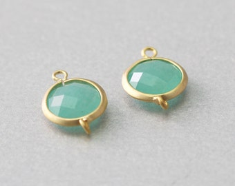 Amazonite Round Gemstone Connector . Matte Gold Plated . Brass Framed . 10 Pieces / G1019G-AZ010