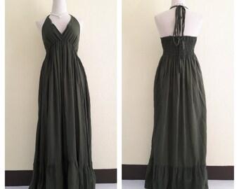 Pretty Dresses/ dresses green olives Maxi Halter Long Dress Maxi Dress Boho Dress Summer Beach Dress Plus Size XS - 5XXL