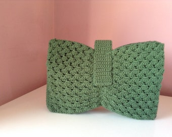1940'S Replica Green Crochet Bow Bag