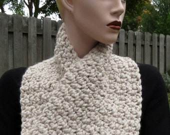 Crochet Wrap Scarflet with Buttons, Cream, Soft Multiway Crocheted Scarflet with Buttons