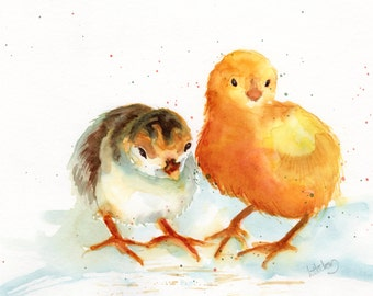 Chicks, A High Quality PRINT of my watercolor painting, nursery, childs room