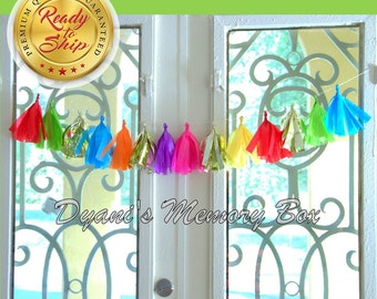 FIESTA Handmade MINI Tissue Tassel Garland / Fiesta Tassel Backdrop / Fiesta Bunting / Bright Rainbow Colors Garland