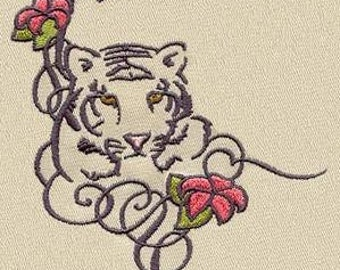 PAIR hand towels - tiger & lillies - 15 x 25 inch for kitchen / bath MORE COLORS