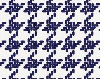 Windsor Navy Modern Houndstooth Fabric - By The Yard - Gender Neutral / Herringbone