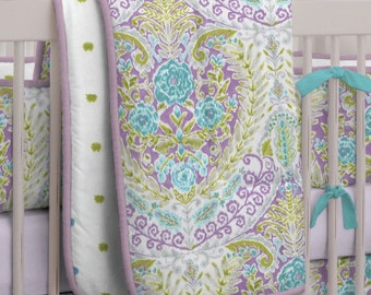 Girl Baby Crib Bedding: Aqua and Purple Jasmine 3-Piece Crib Bedding Set by Carousel Designs