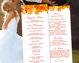 "Fall Wedding Program ""Fall in Love"" DIY Autumn Printable Template Order of Service Word.doc Instant Download Make Your Own Program You Print"
