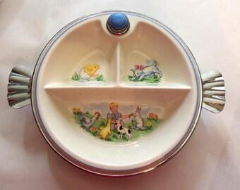 Baby Feeding Dish, Vintage, Bartsch Chrome