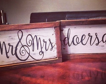 Mr. & Mrs. - Personalized - Rustic - Wall decor - Wedding Gift