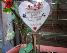 Pet-Cat-Dog Memorial Ornament, funeral, Waterproof Handmade Personalised Memorial Heart-Pink/Blue/red