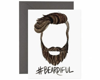 "Beard Greeting Card ""#BEARDIFUL"""