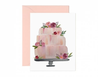 Floral Watercolor Wedding Cake Greeting Card