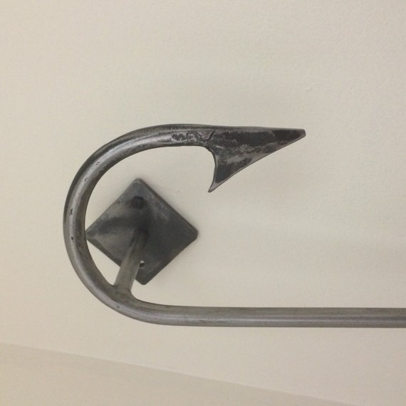 Items similar to fishing hook small towel bar or paper ...